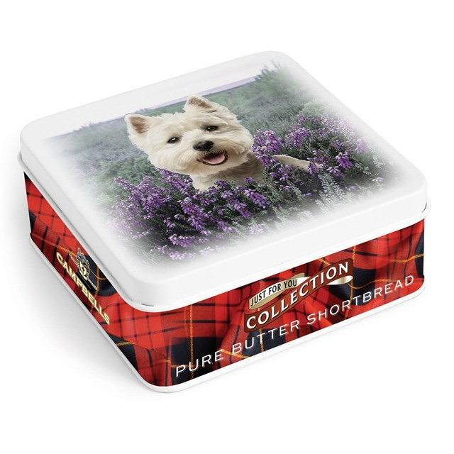 CAMPBELLS ALL BUTTER SHORTBREAD WESTIE IN HEATHER TIN 90g