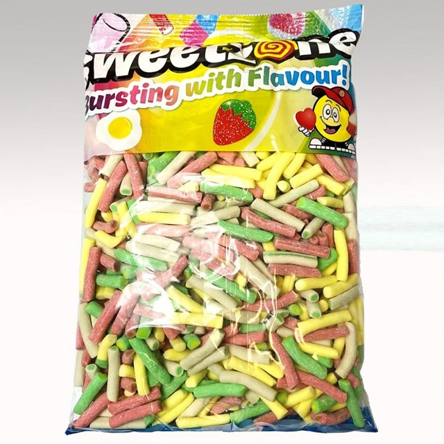 SWEETZONE 1KG BAG RHUBARB & CUSTARD PENCILS