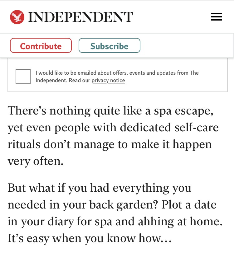 The Independent at home massages