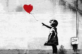 Banksy girl with a heart balloon