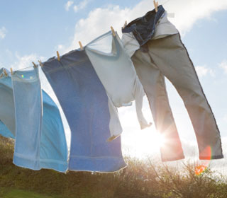 Washing drying on a line