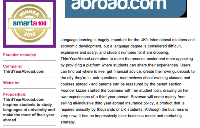 ThirdYearAbroad is Smarta100 winner