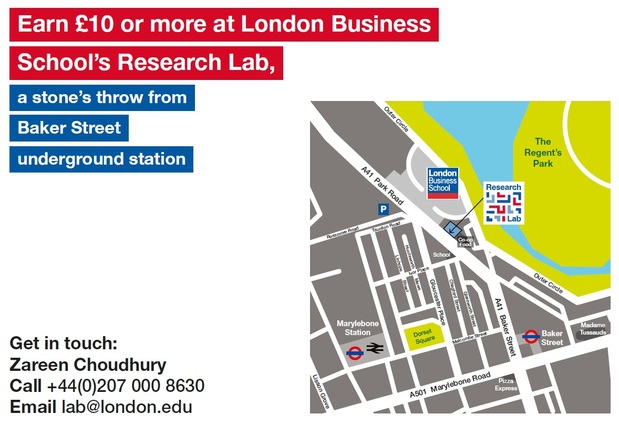London Business School Research Lab Participant