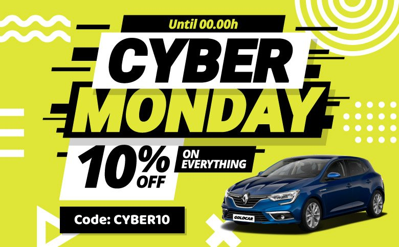 Cyber Monday 2019 location de voitures goldcar