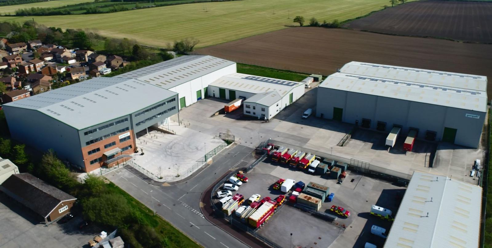 a birds eye view of our warehouses in Melksham, Wiltshire