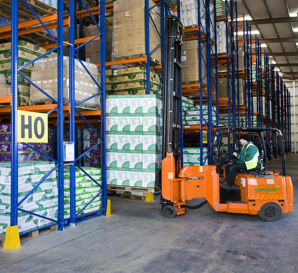 One of our forklifts operating in our warehouse