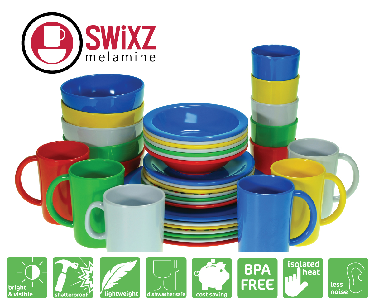 Swixz Melamine Tableware is manufactured from high quality Melamine which is scratch and chip resistant, a cost effective alternative to polycarbonate and china