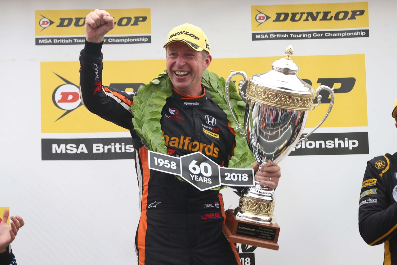 Matt Neal and Honda make BTCC history with 'Diamond Double' delight at Snetterton