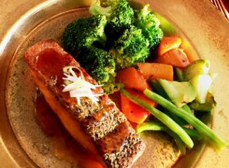Salmon Steak with Oyster Sauce and Ginger Sauteed Vegetables