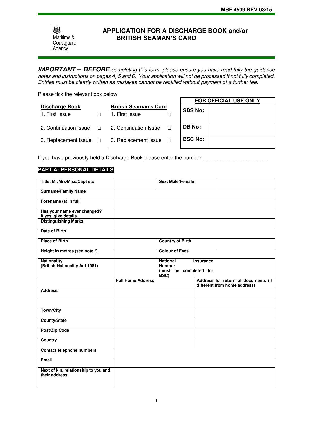 Form explorer attachment msf 4509 application for a discharge book andor british seamans card aiddatafo Gallery