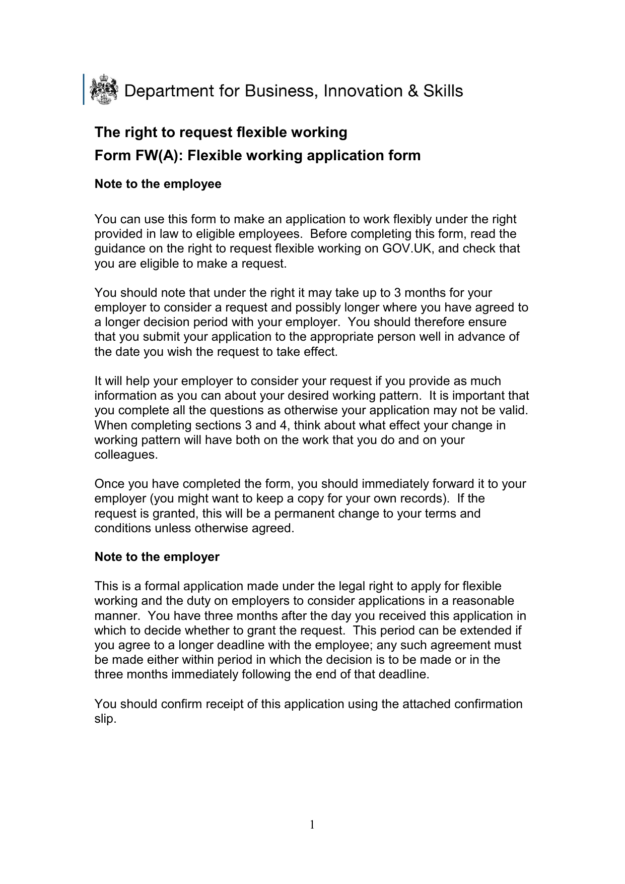 attachment the right to request flexible working application form