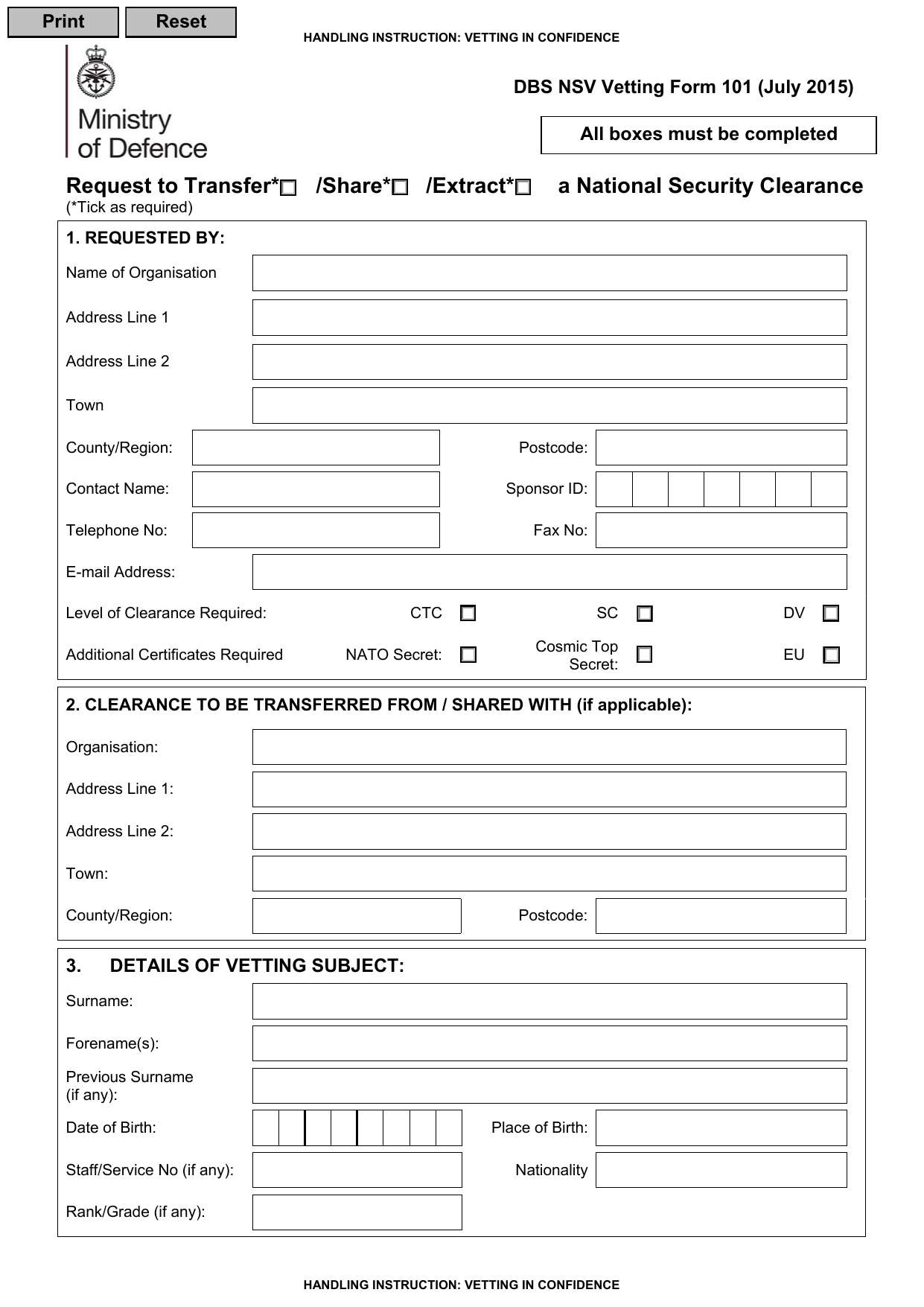 Form explorer attachment defence business services national security vetting security clearance transfer request form xflitez Image collections