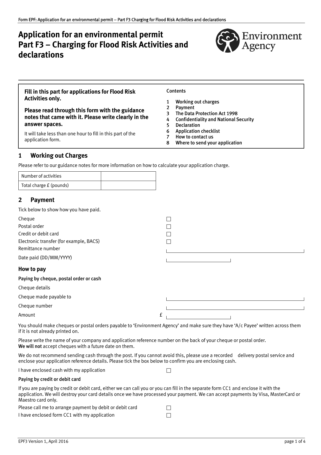 Attachment Application For An Environmental Permit Part F3: Charging For  Flood Risk Activities And Declarations