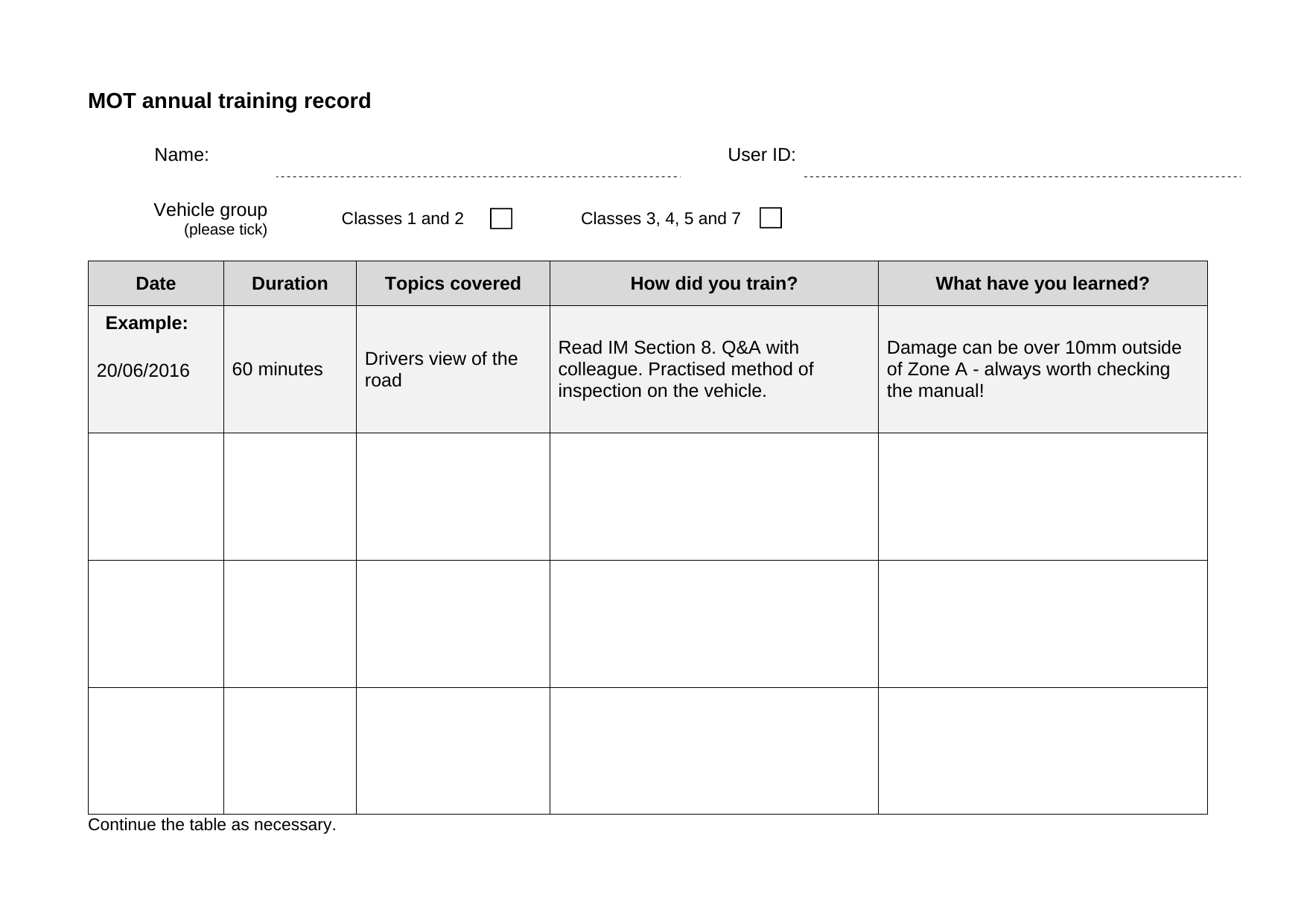 Nice Training Record Sheet Template Images Gallery Individual