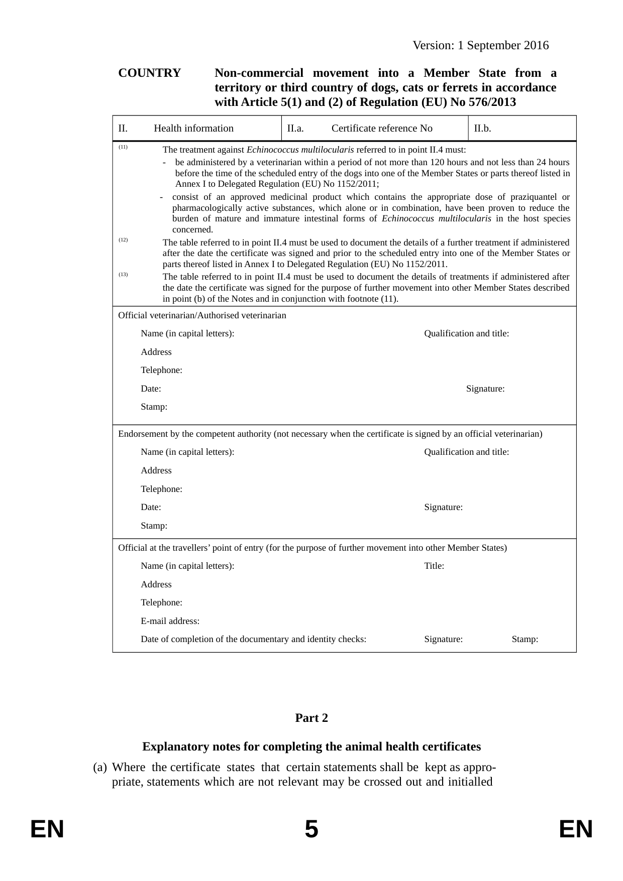 format of health certificate
