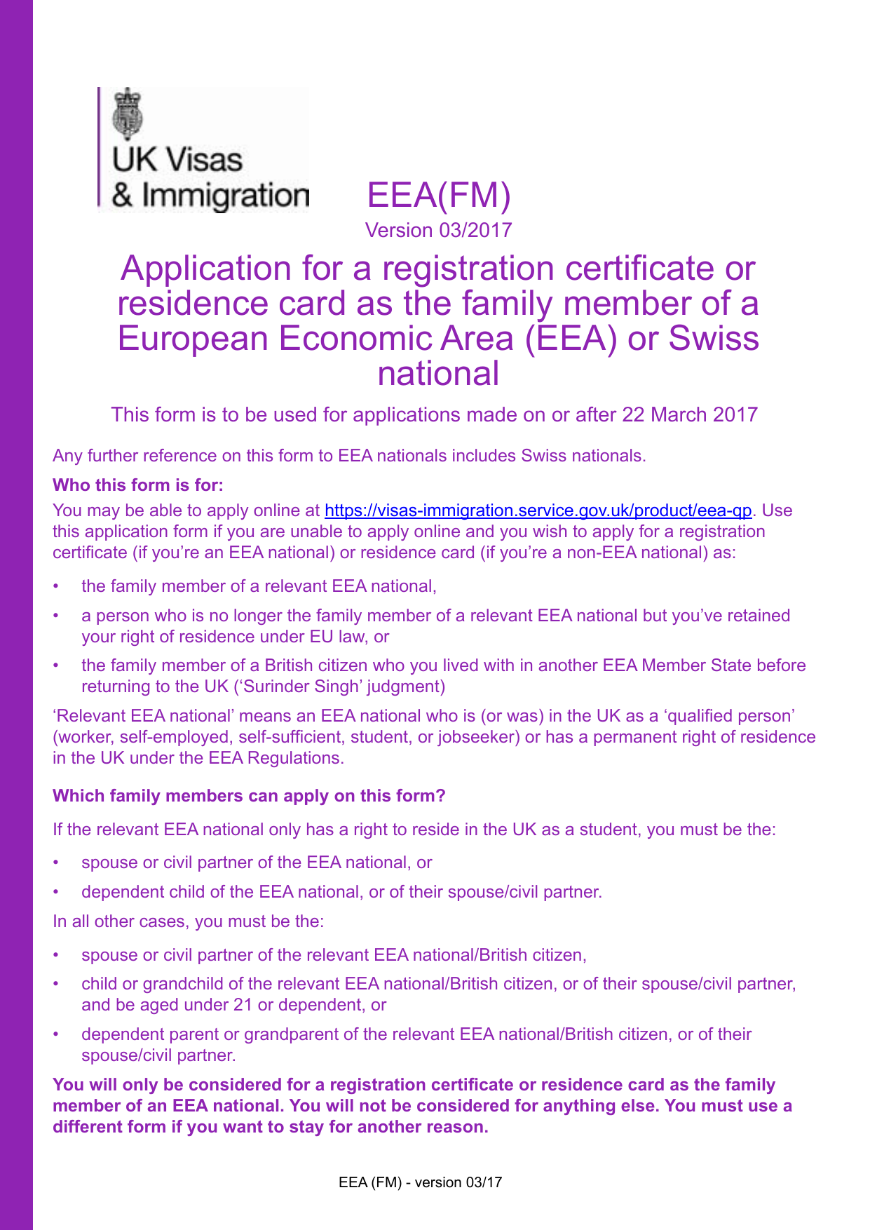 Form explorer attachment application for a registration certificate or residence card as the family member of an eea or swiss national form eea fm solutioingenieria Images