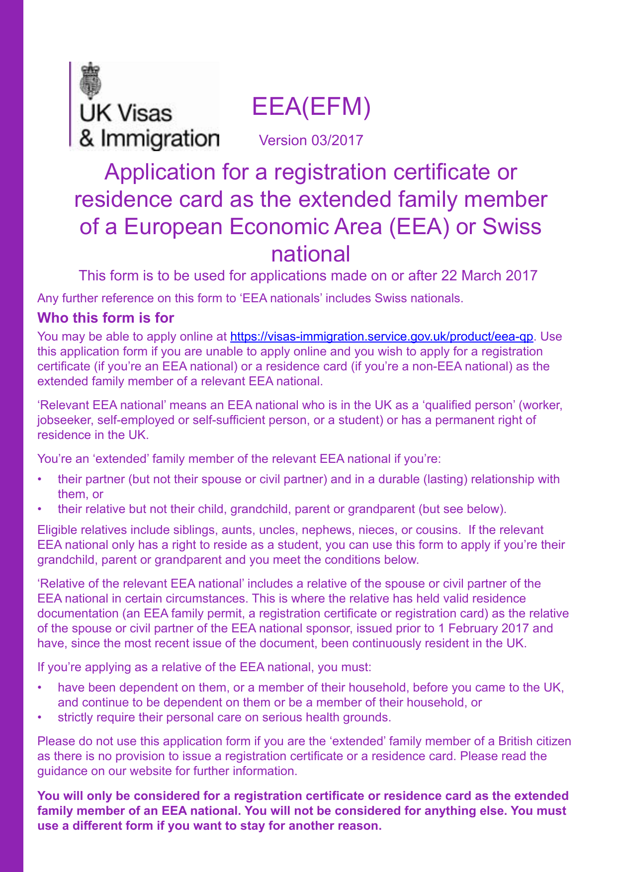 Form explorer attachment application for a registration certificate or residence card as the extended family member of an eea or swiss national form eea efm solutioingenieria Choice Image