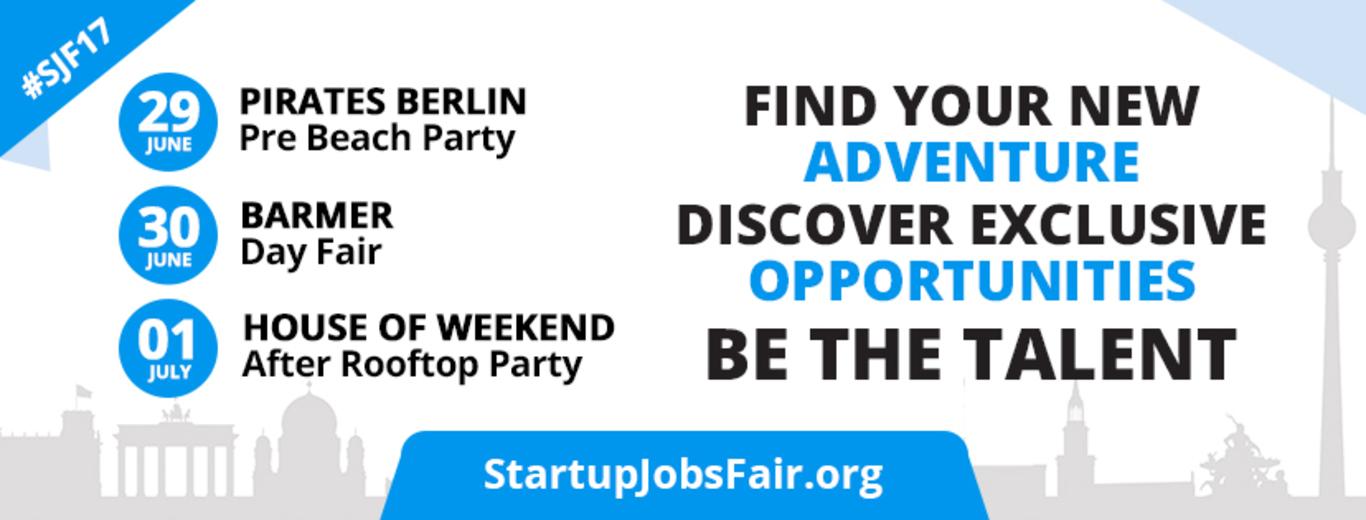 Engagieren & helfen bei Startup Jobs Fair 29th & 30th June & 1st of July
