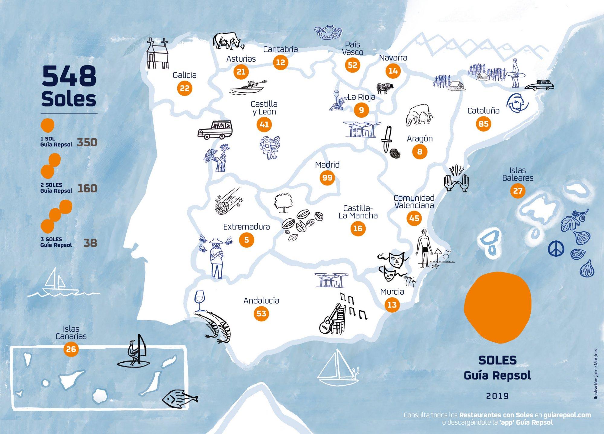 Total de Soles Guía Repsol repartidos por Comunidades Autónomas.