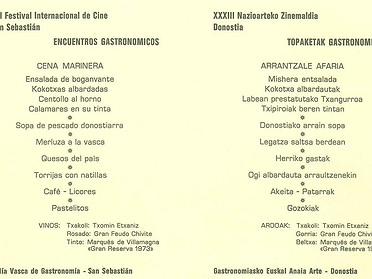 Menú con historia: Festival de Cine de San Sebastian (1985)
