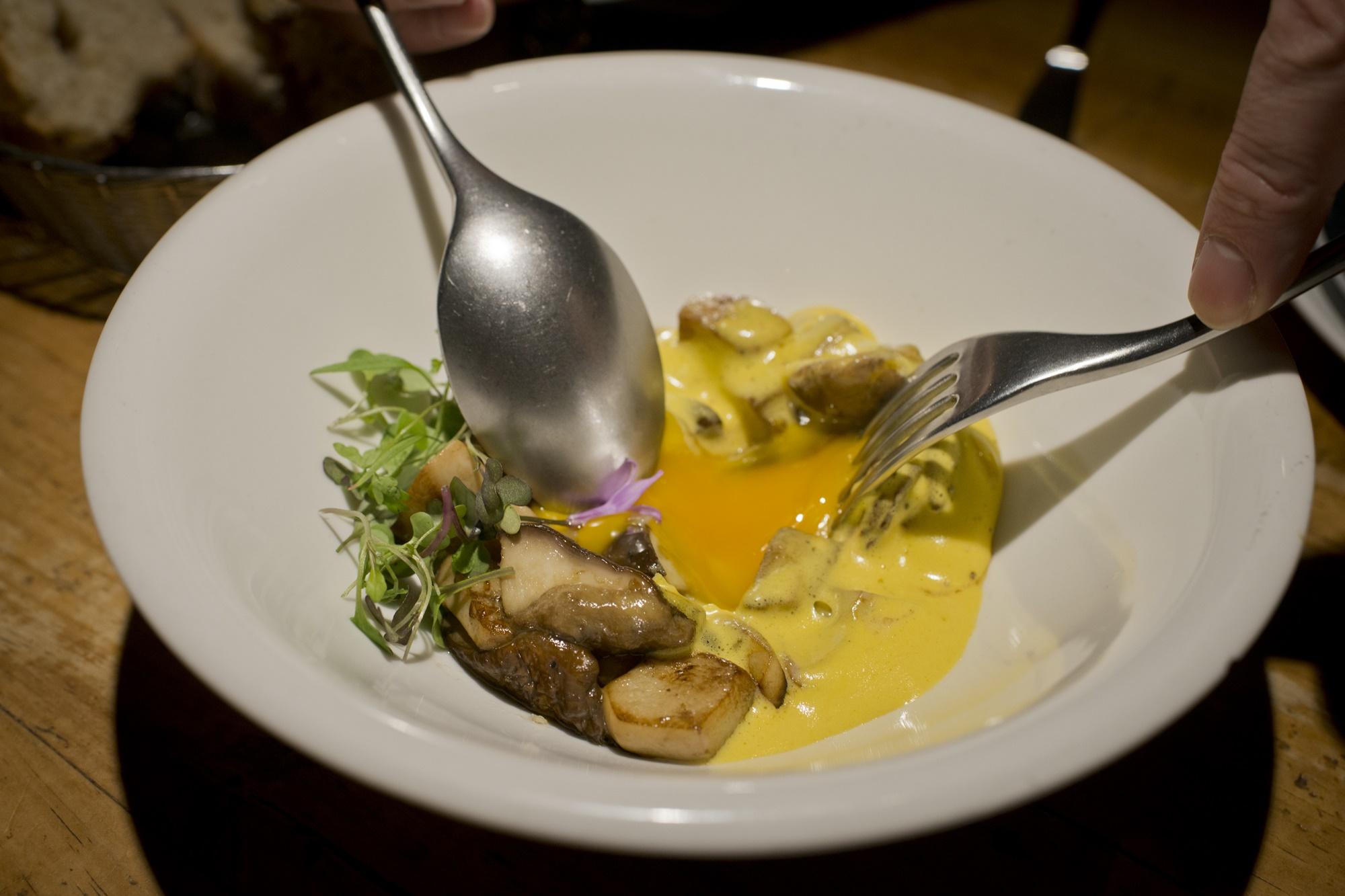 Boletus con yema de huevo de caserío.