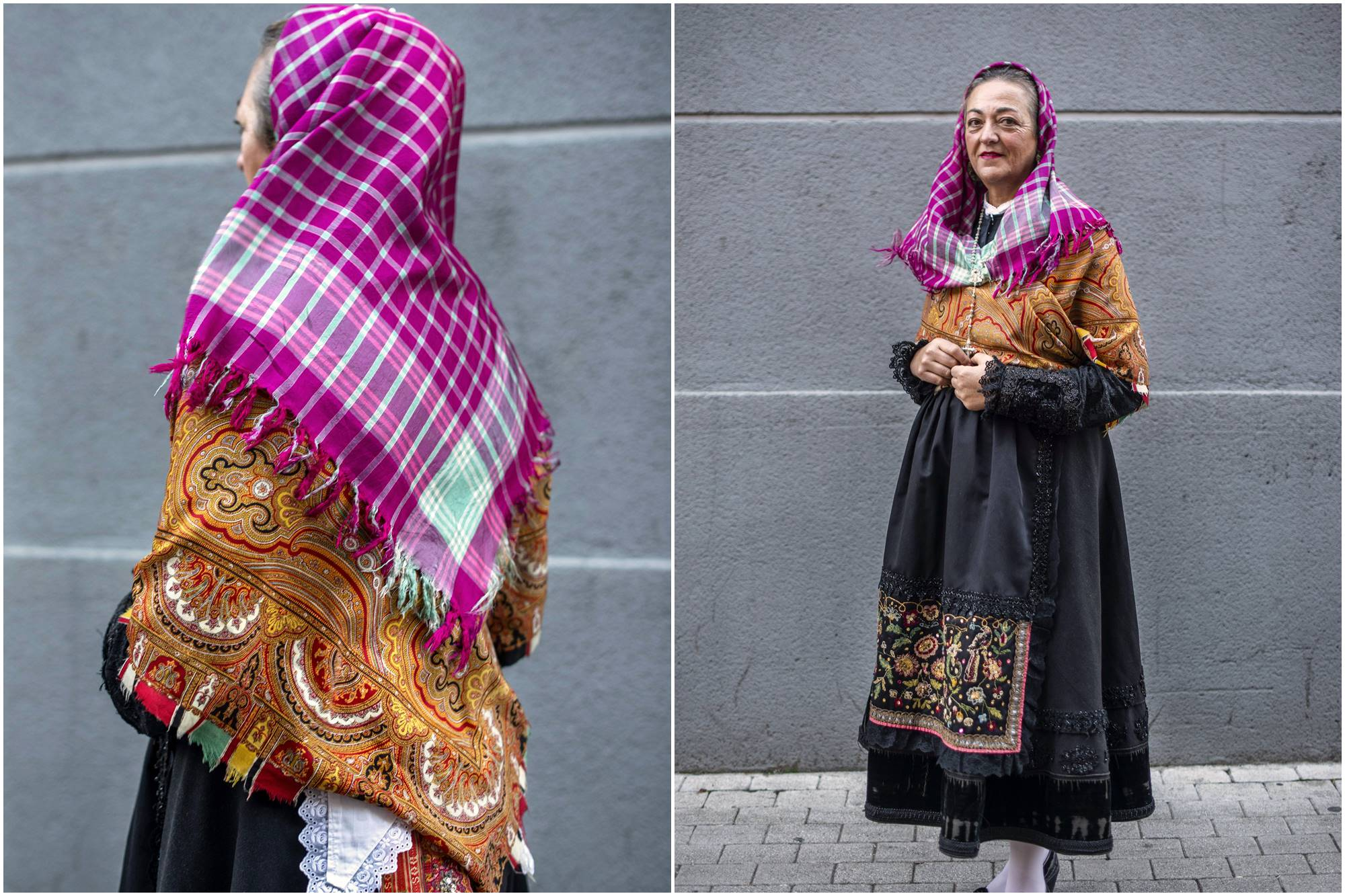 Carmen Martínez con la indumentaria maragata heredada, una de las joyas más preciadas en esta cultura.