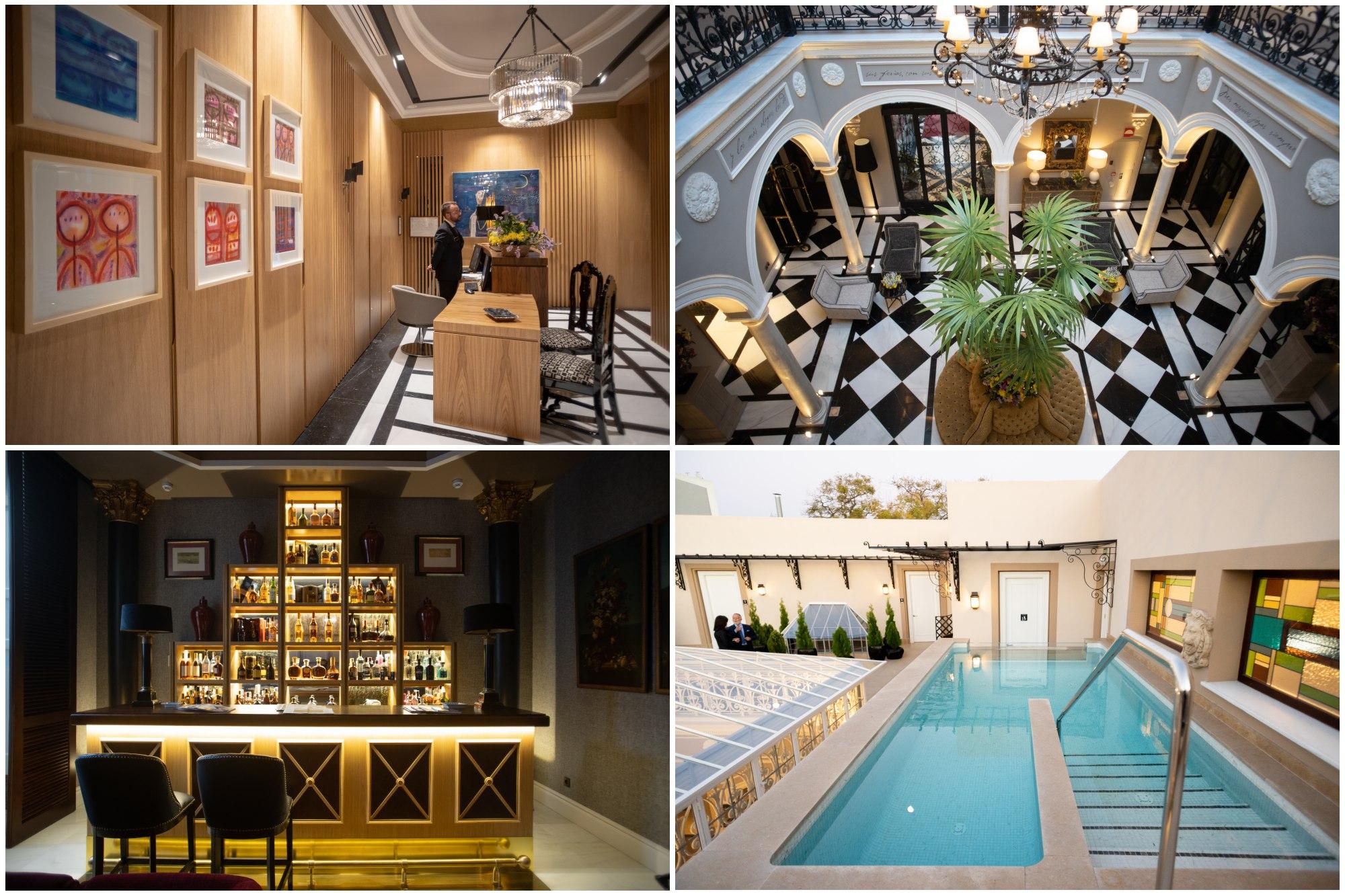 Diferentes rincones del hotel, desde la recepción, al bar inglés y la piscina del último piso.