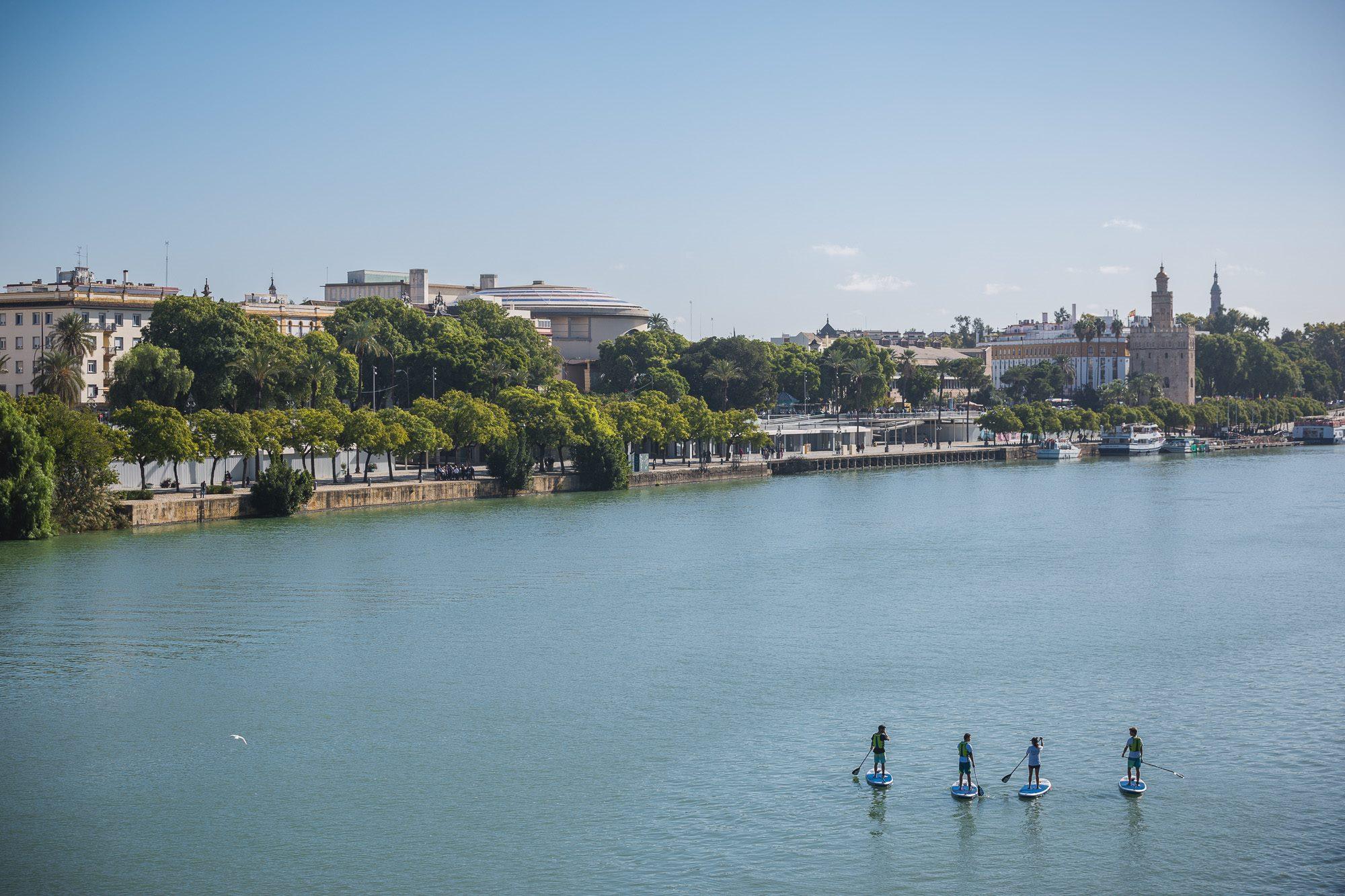 El clima de Sevilla favorece la práctica del 'paddle surf' en todas sus variantes.
