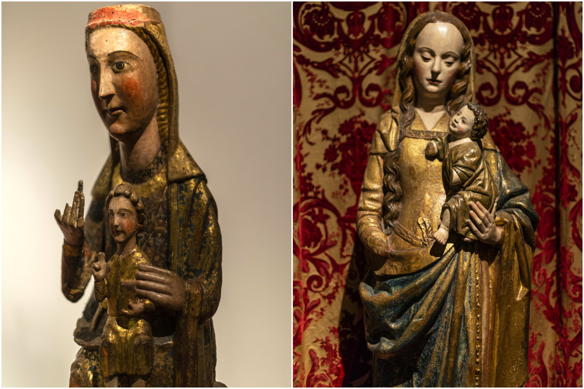 Dos vírgenes románicas procedentes de la iglesia que había antes de la catedral.