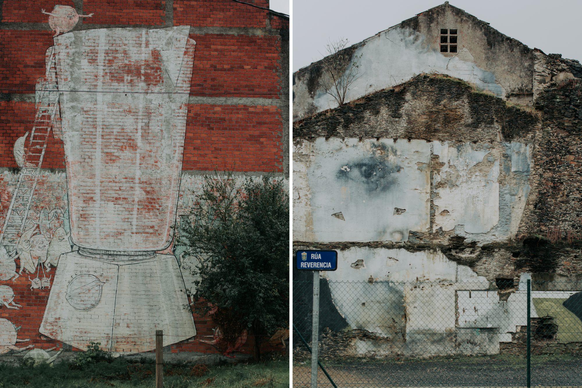Street art en Ordes: 'Galicia caníbal', del italiano Blu y 'Memoria' del argentino Bosoletti