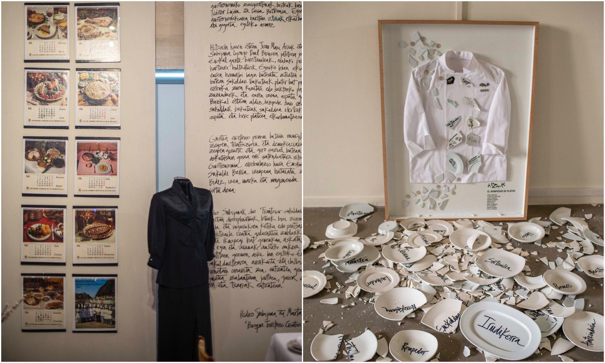 Uno de los uniformes de la gente de sala de Arzak y la instalación de los platos que ha tenido que romper para crear.
