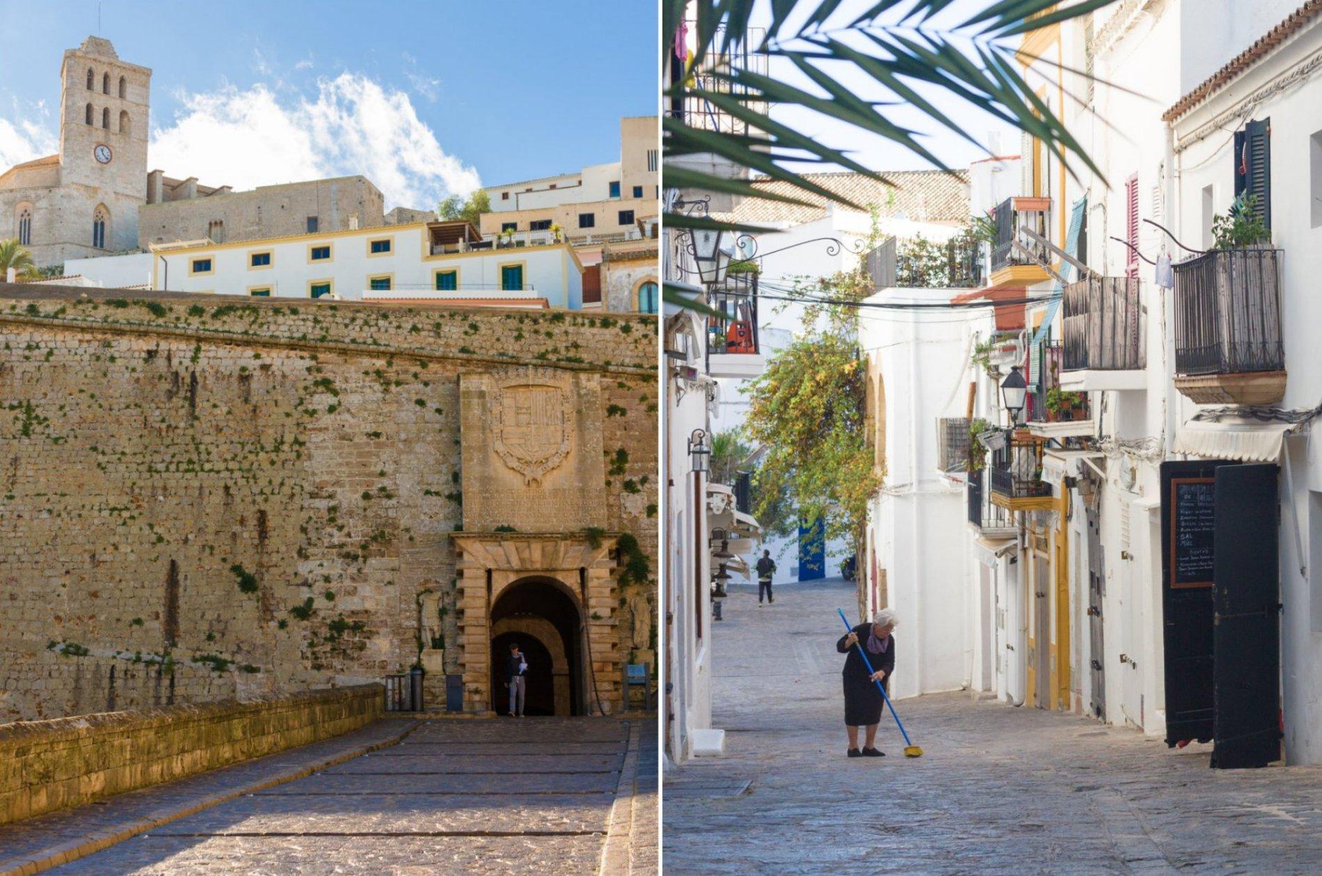 Portal de Ses Taules y una de las callejuelas de Dalt Vila con sus características casas blancas.