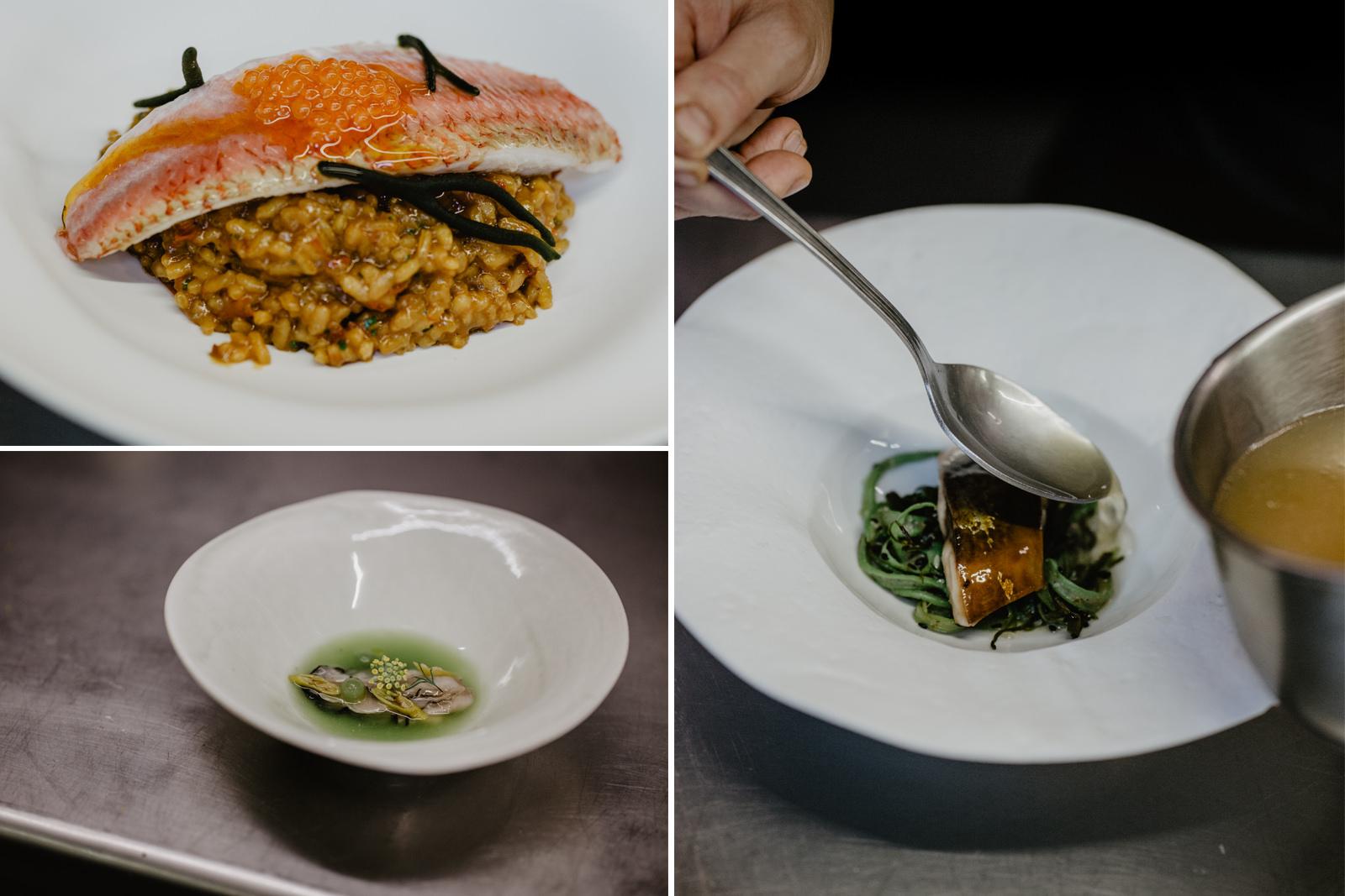 Algunos de los platos de los dos tipos de menú degustación que ofrece 'A Tafona' (Miudo y De Mercado).