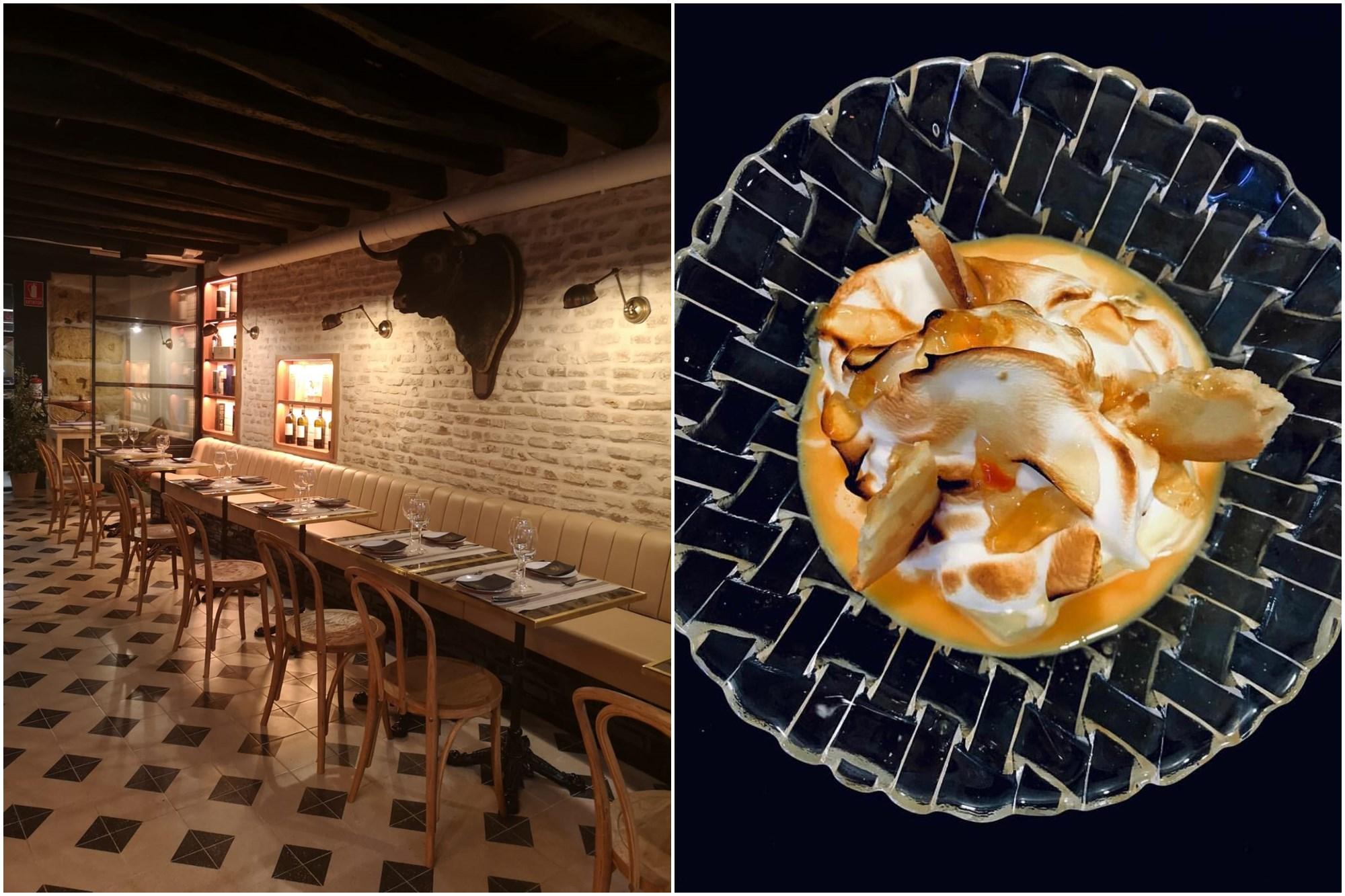 Postre de crema de naranja y merengue. A la izquierda, detalle del salón. Foto: 'Restaurante Señorío'.