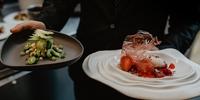 El postre de kiwi y la 'Vie en Rose', del restaurante 'A Tafona' en Santiago de Compostela (Recomendado por Guía Repsol).