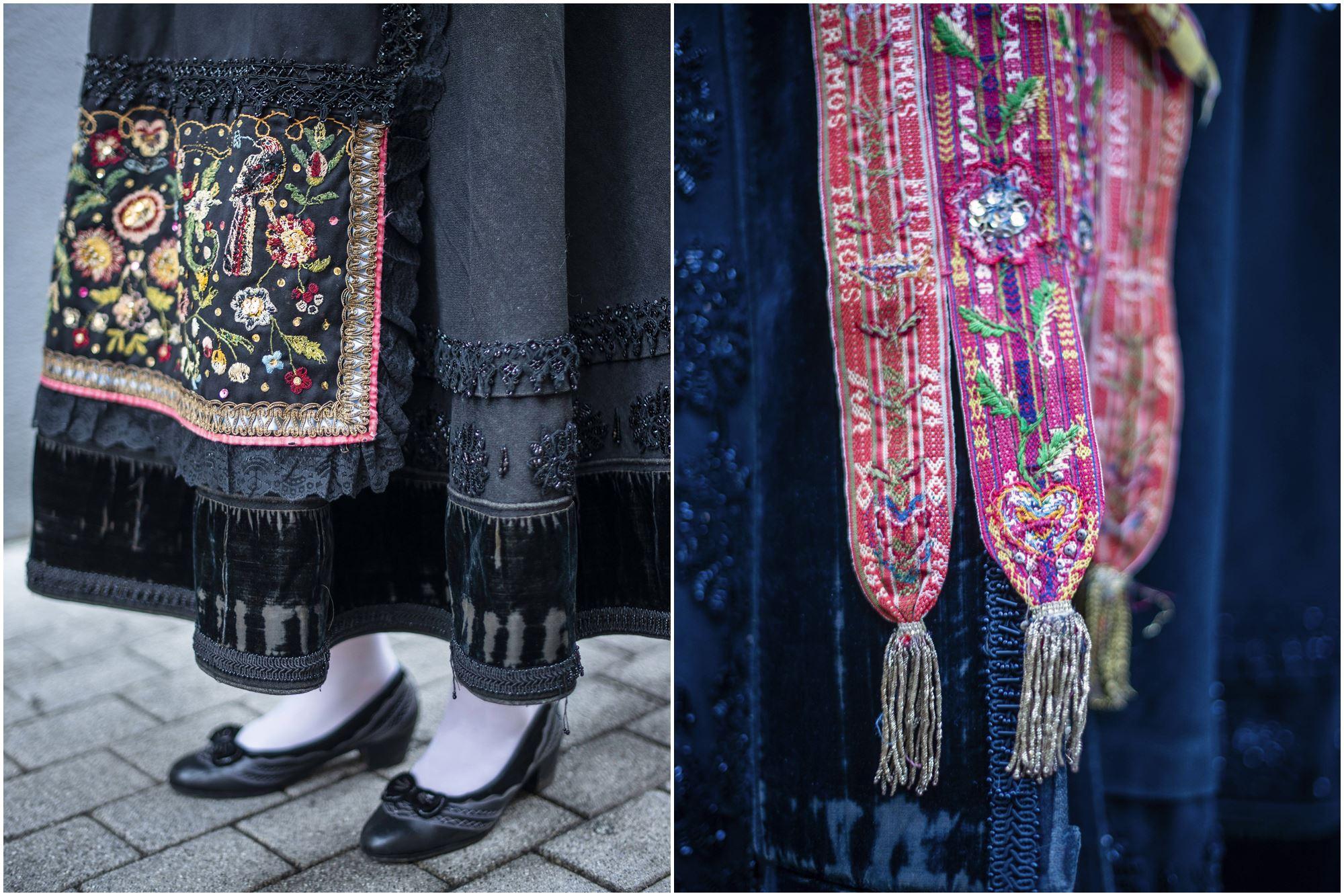 Los zapatos y las cintas, claves en la vestimenta de la mujer maragata.