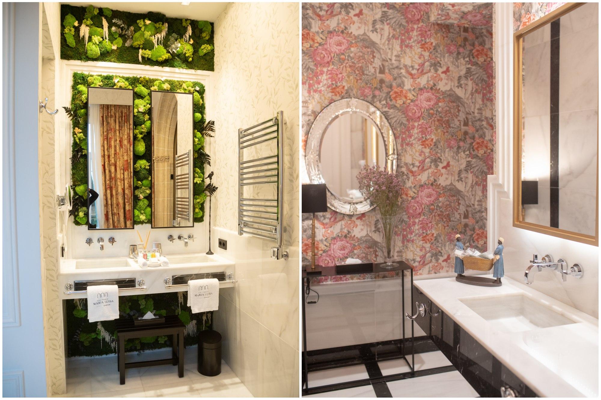 Detalle de dos de los baños del hotel. El de la izquierda, pertenece a la Suite María Luisa.