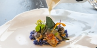 Masera o buey de mar, centollo y bígaros con hierbas del litoral, del restaurante 'Annua', en San Vicente de la Barquera (2 Soles Guía Repsol).