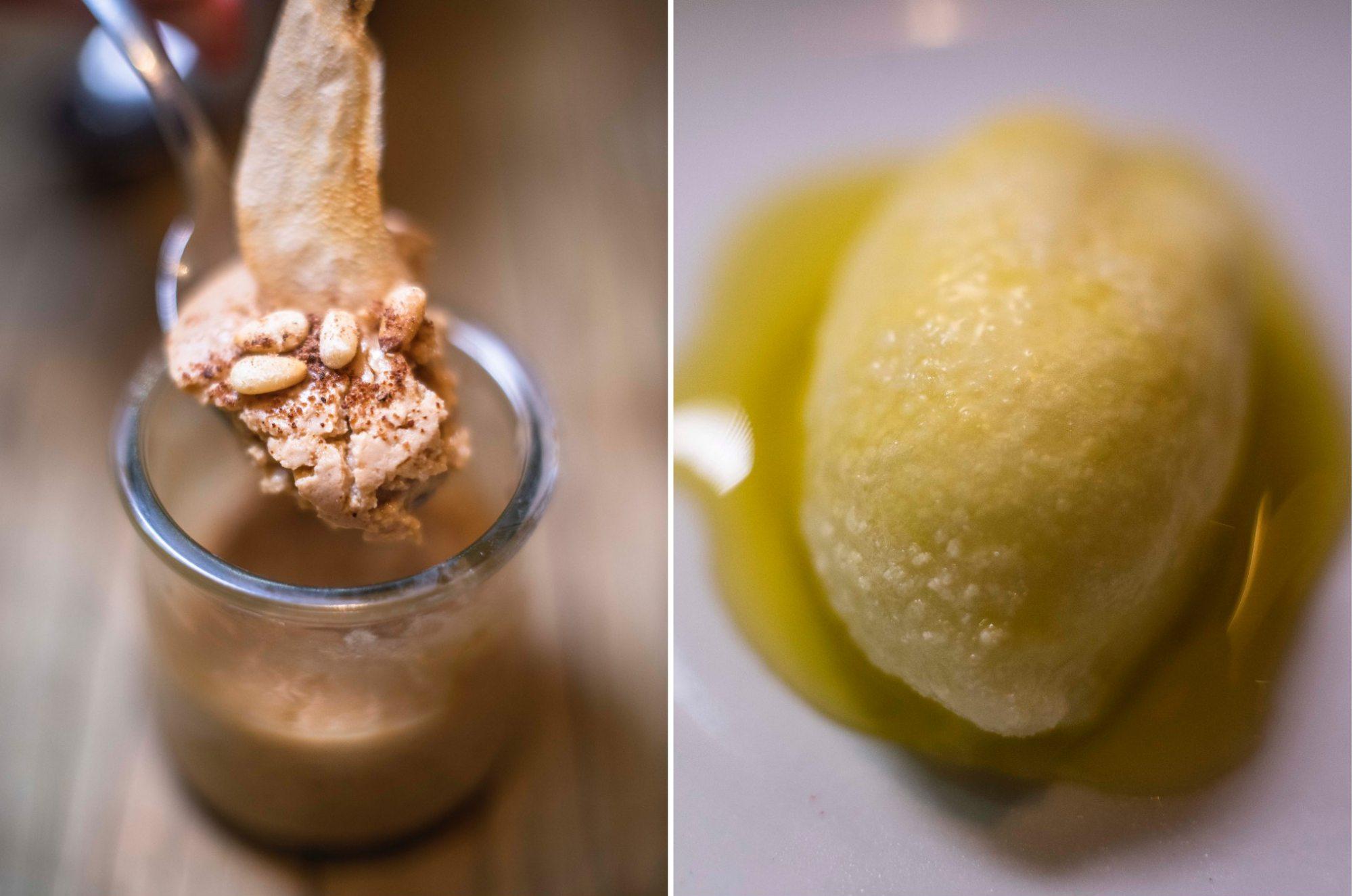Pátina de pera y sorbete de limón con aceite de oliva.