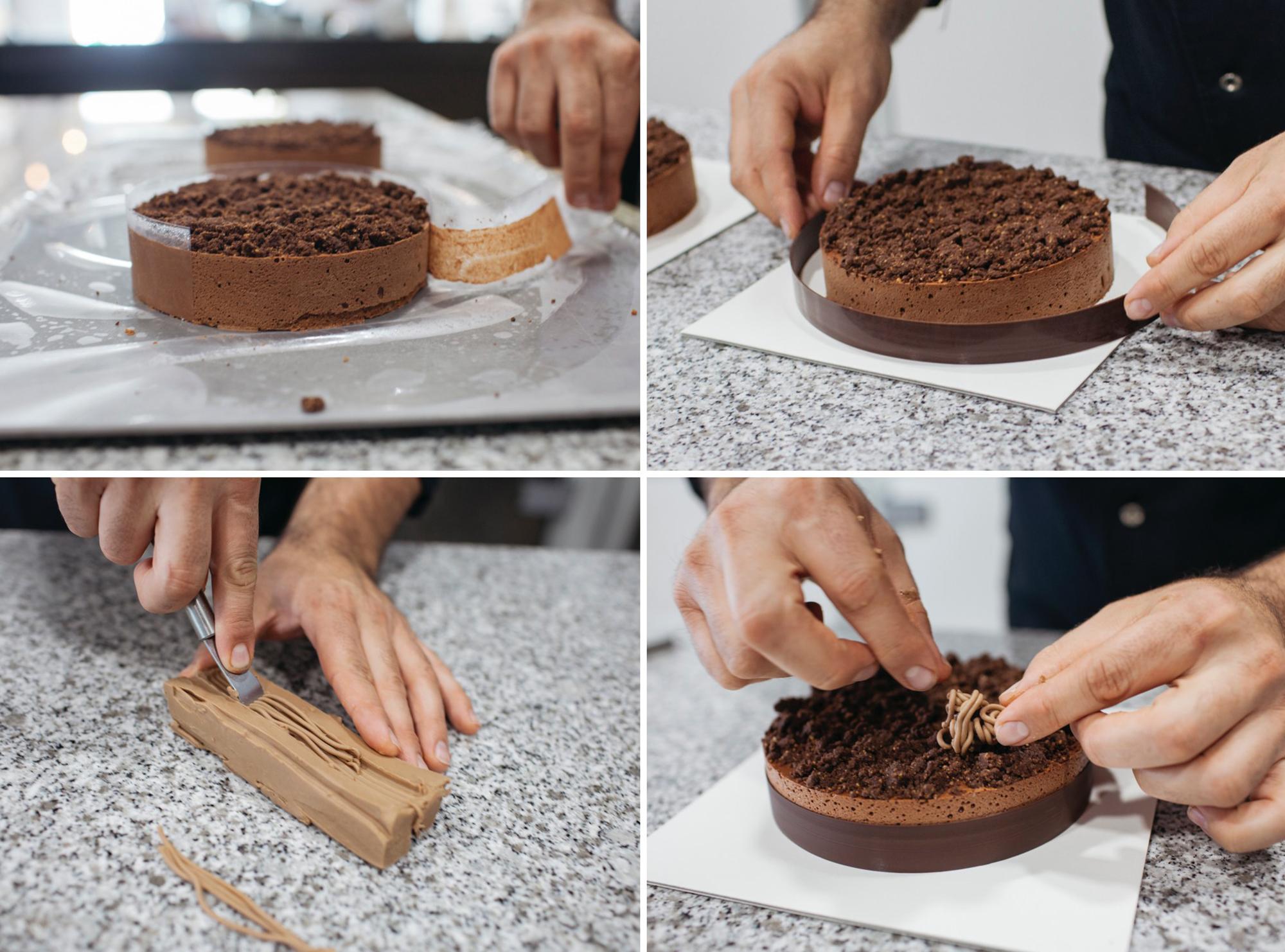 El brownie, el mousse y la galleta aportan tres texturas muy atractivas a la tarta.