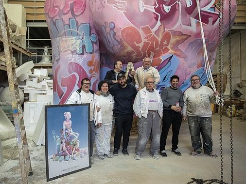 Falla municipal Valencia 2019: grafiti de la mano de Pichiavo