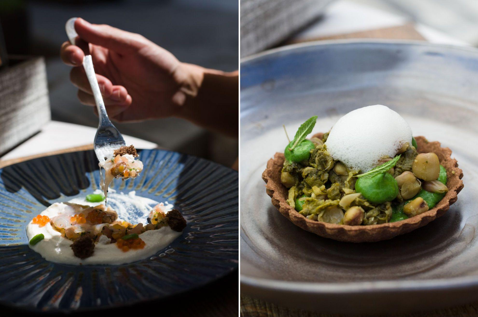 Restaurante 'Es Ventall': tartar de tomate con cigala ibicenca, habas baby y crema de almendra; y cuinat