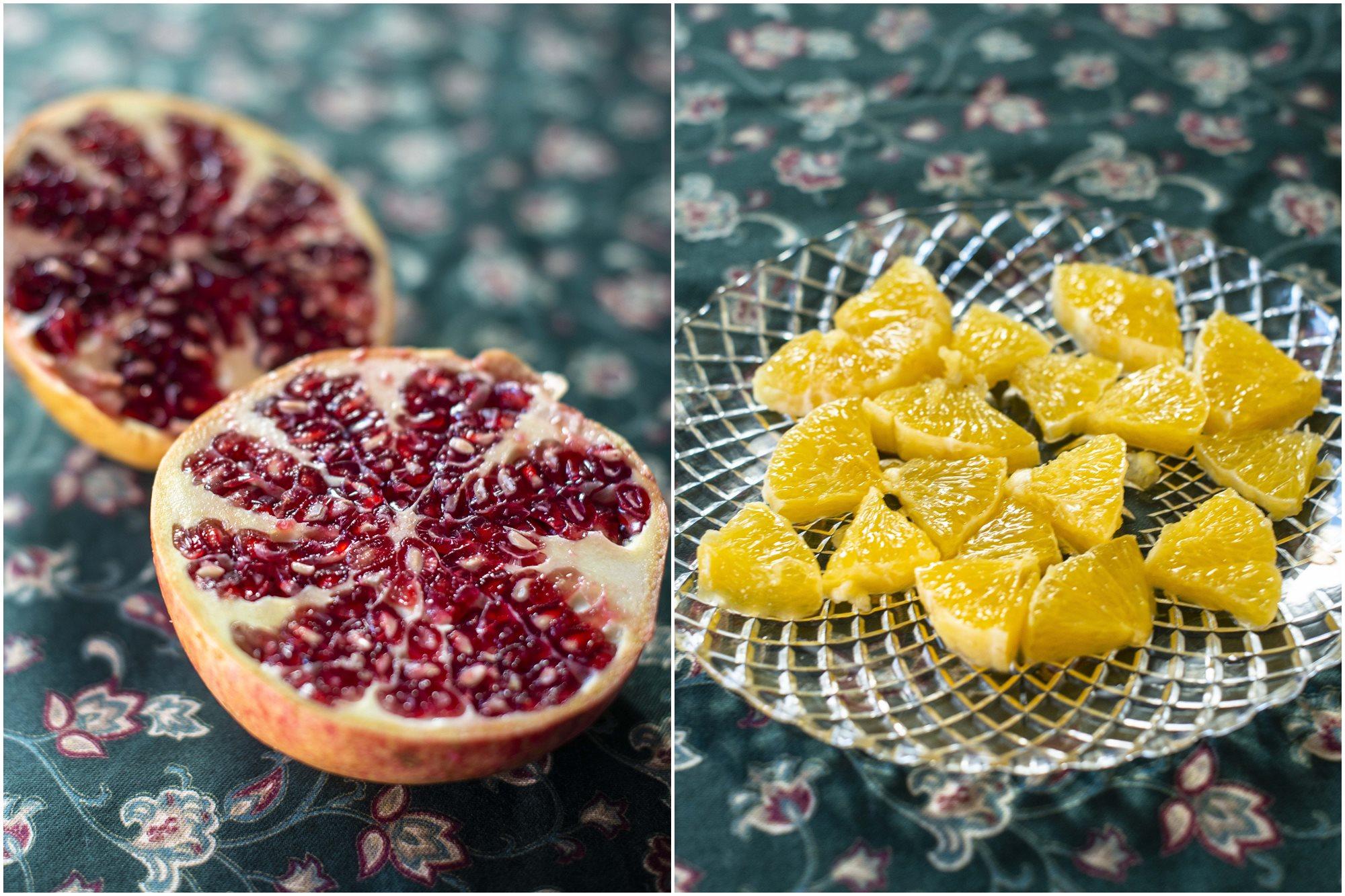 Granada y naranja, una mezcla refrescante.