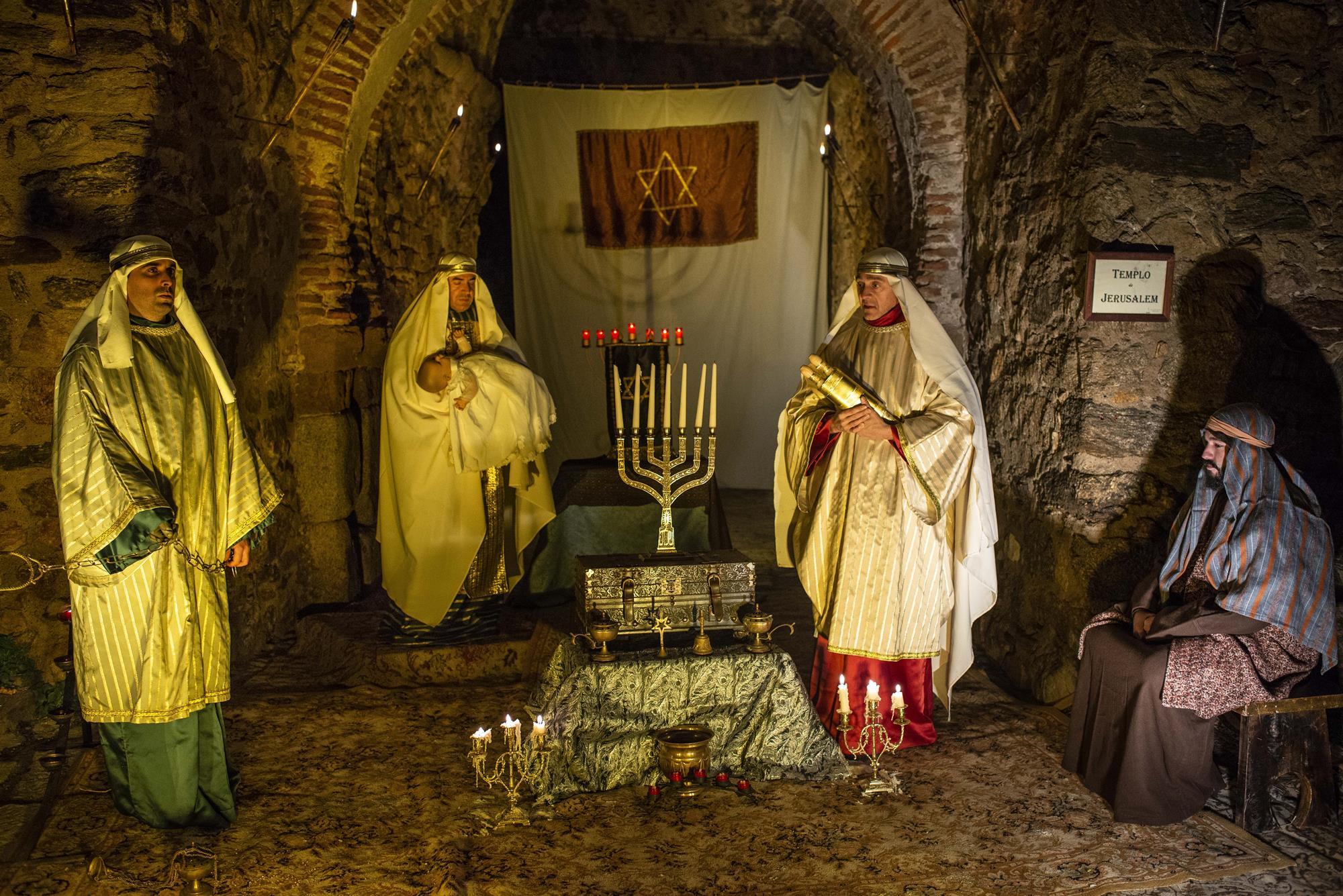 El templo judío no puede faltar en cualquier representación del nacimiento.