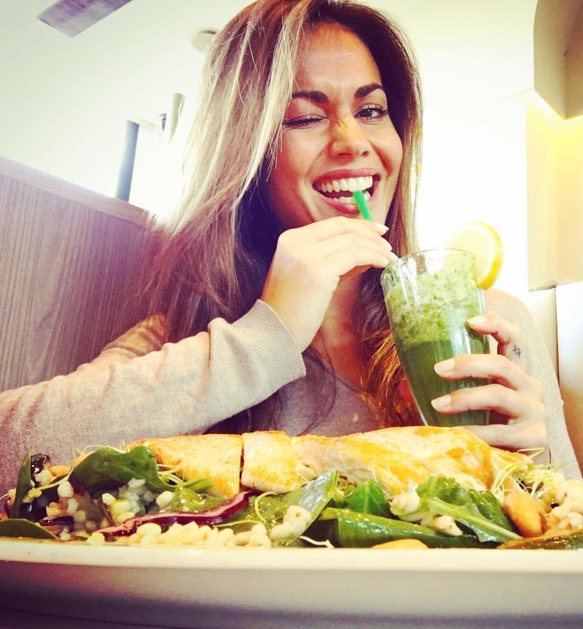 Lara Álvarez comiendo saludable