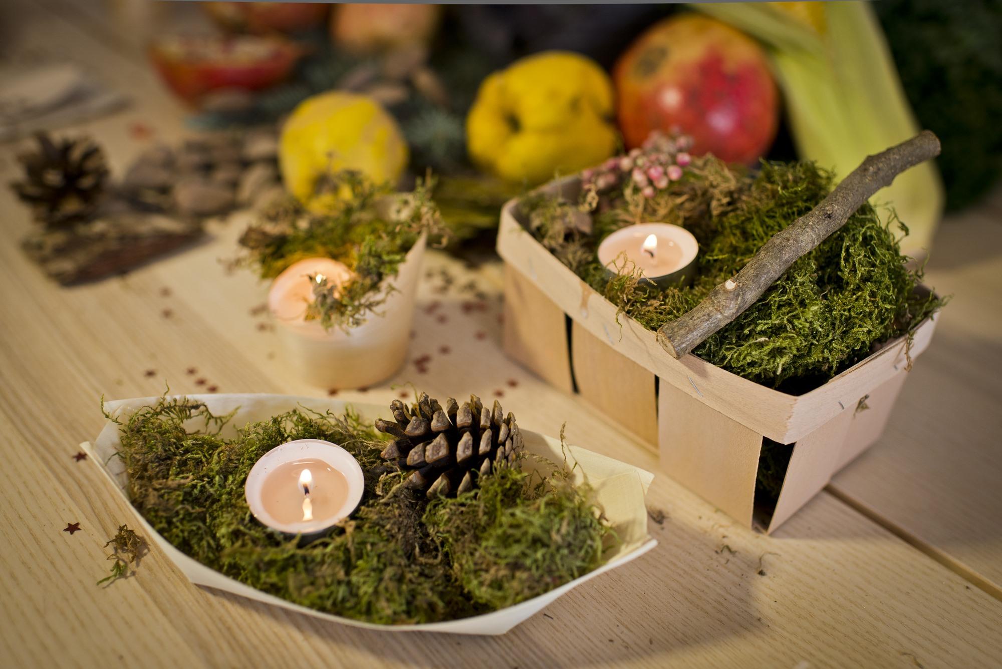 En el parque puedes recoger hojas caídas, trozos de madera o tallos de plantas que servirán para decorar tu mesa.