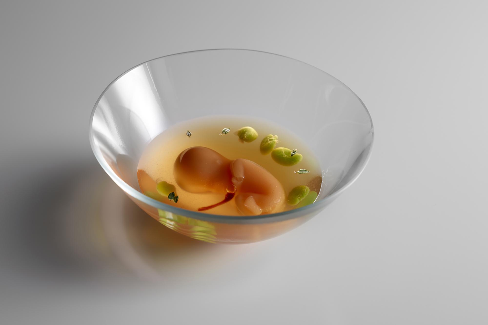 Un feto en su líquido amniótico, parte de la serie sobre el origen de la vida. Foto: Mugaritz.
