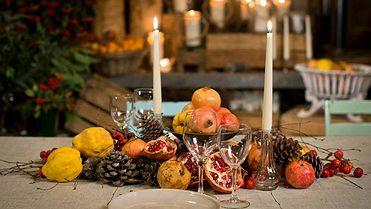 Mesas de Navidad, decoración con frutas y naturaleza