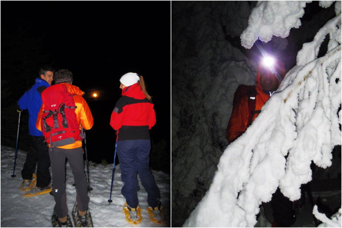 Observando la salida de la luna en el Macizo de Peñalara y los pinos congelados. Foto: Nuria Hijano (MontNature).