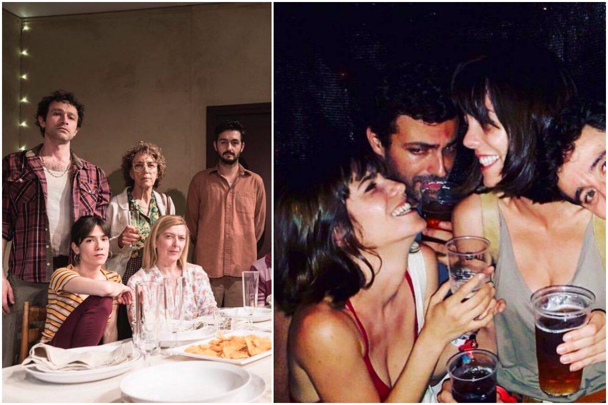 """Obra """"Que rebentin els actors"""" de Gabriel Calderón. A la derecha, con el equipo de la obra 'Life Spoiler'. Foto: Instagram."""